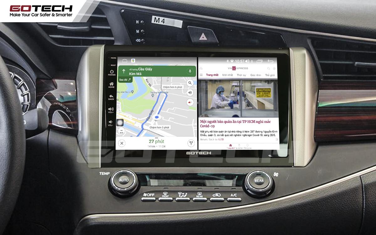 Chạy đa nhiệm ứng dụng mượt mà trên màn hình ô tô GOTECH cho xe Toyota Innova 2018-2020