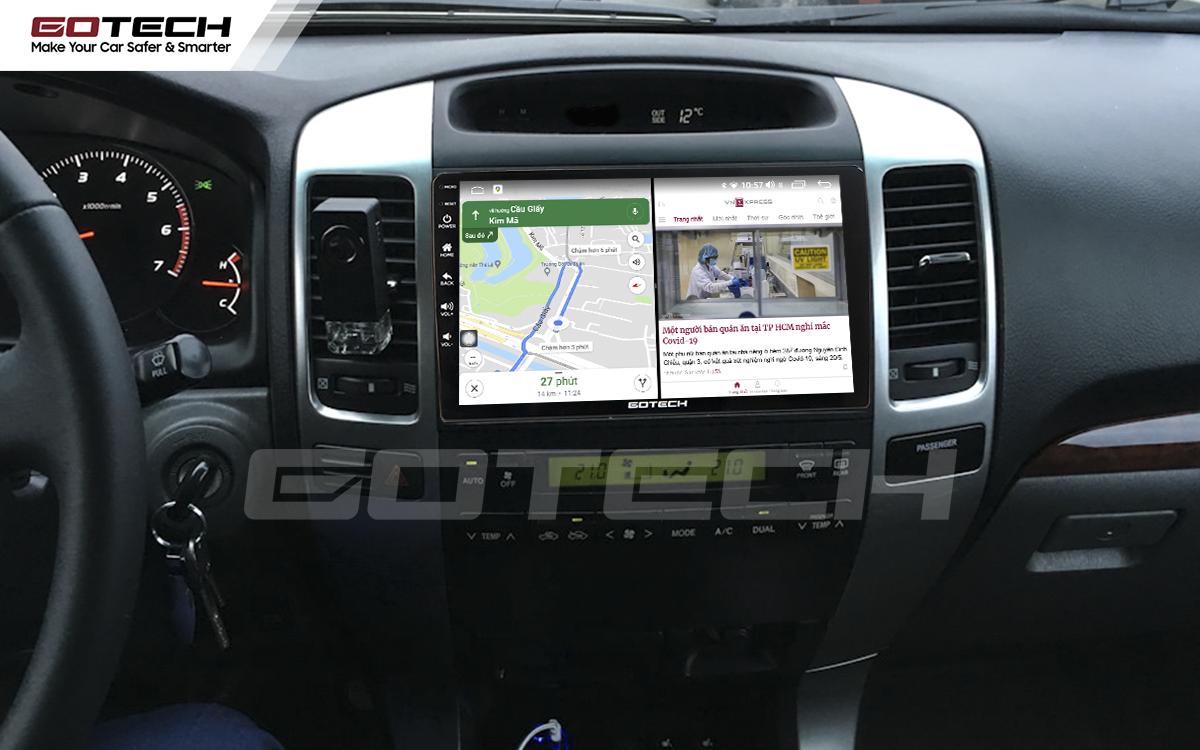 Chạy đa nhiệm ứng dụng mượt mà trên màn hình ô tô GOTECH cho xe Toyota Land Cruiser 2003-2007