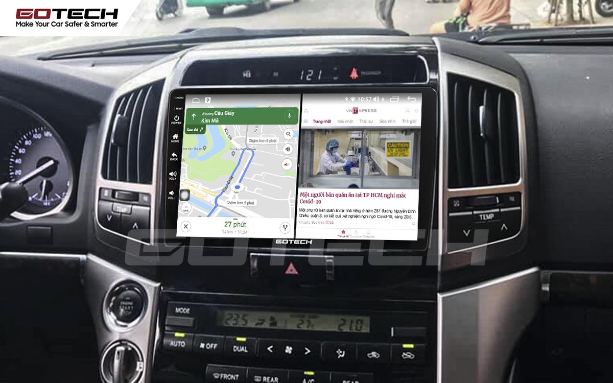 Chạy đa nhiệm ứng dụng mượt mà trên màn hình ô tô GOTECH cho xe Toyota Land Cruiser 2008-2015