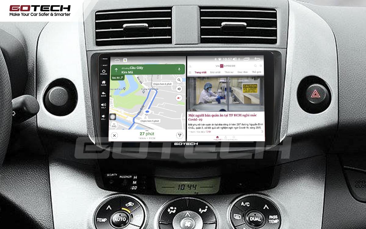 Chạy đa nhiệm ứng dụng mượt mà trên màn hình ô tô GOTECH cho xe Toyota Rav4 2006-2011