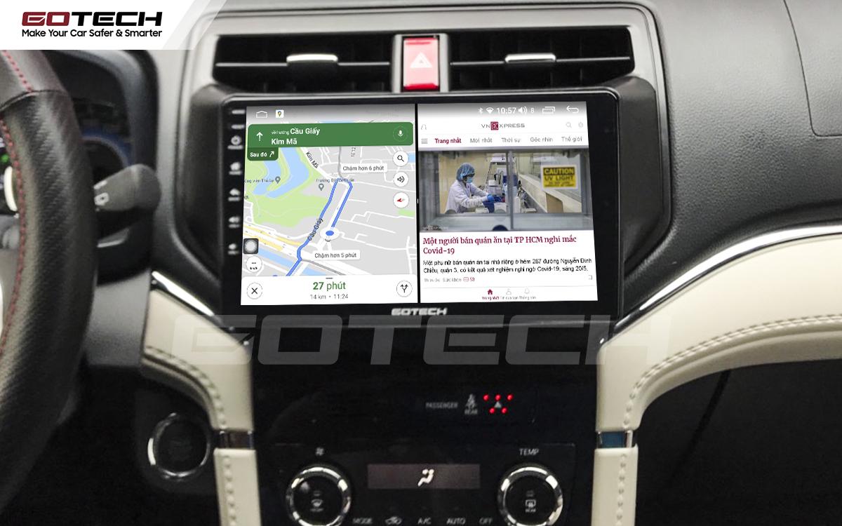 Chạy đa nhiệm ứng dụng mượt mà trên màn hình ô tô GOTECH cho xe Toyota Rush 2018-2020