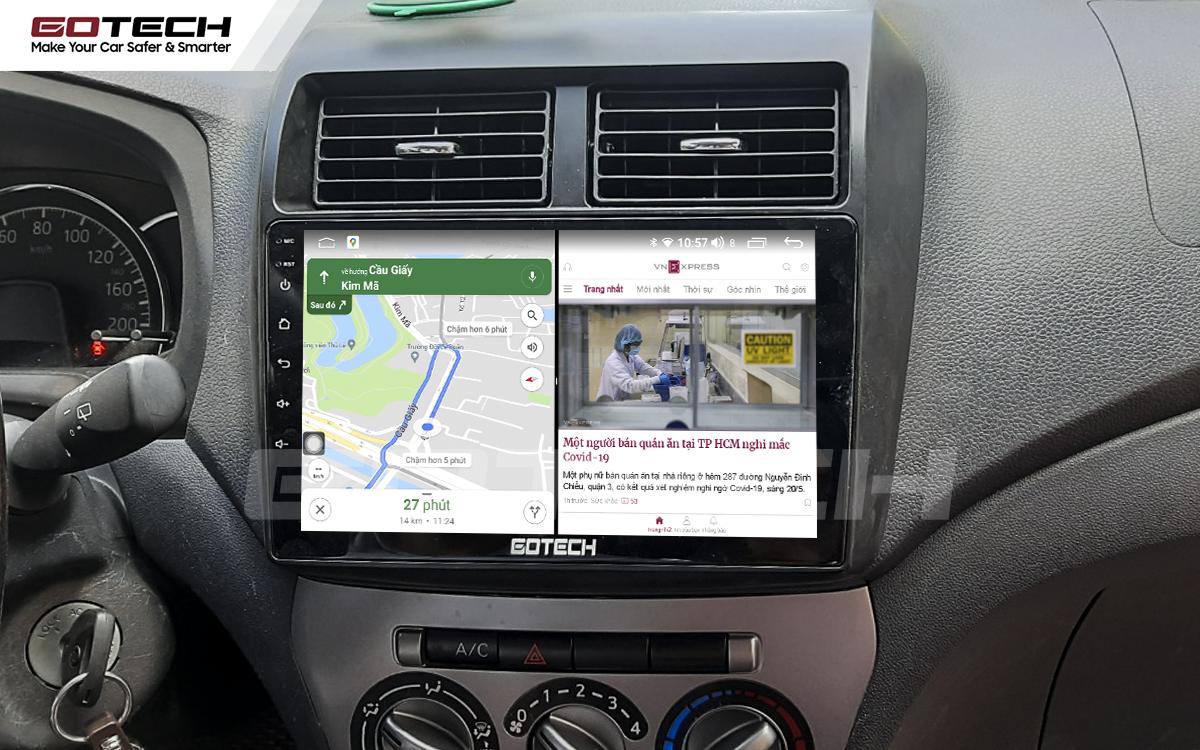 Chạy đa nhiệm ứng dụng mượt mà trên màn hình ô tô GOTECH cho xe Toyota Wigo 2018-2020