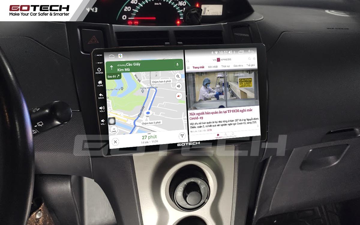 Chạy đa nhiệm ứng dụng mượt mà trên màn hình ô tô GOTECH cho xe Toyota Yaris Hatchback 2005-2013