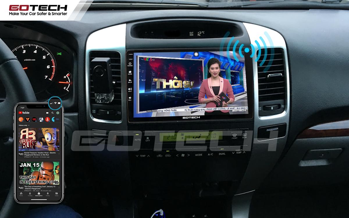 Chia sẻ wifi không cần dùng ổ phát trên màn hình GOTECH cho xe Toyota Land Cruiser 2003-2007