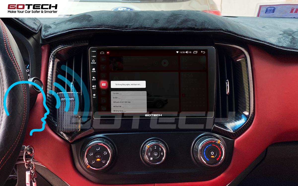 Điều khiển giọng nói qua vô lăng trên màn hình ô tô GOTECH cho xe Chevrolet Colorado 2017-2020