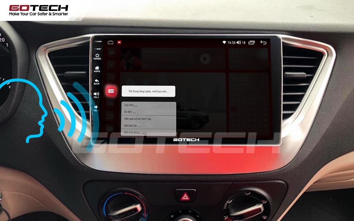 Điều khiển giọng nói qua vô lăng trên màn hình ô tô GOTECH cho xe Hyundai Accent 2018-2020