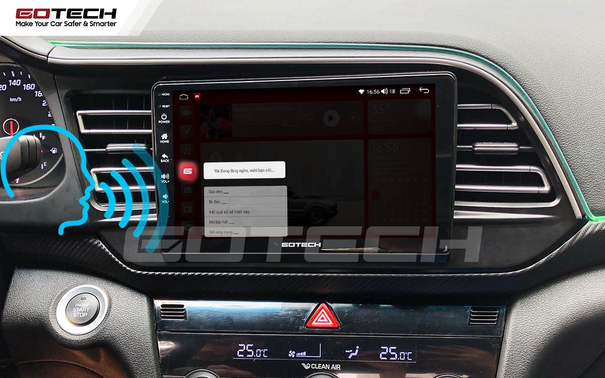 Điều khiển giọng nói qua vô lăng trên màn hình ô tô GOTECH cho xe Hyundai Elantra 2019-2020