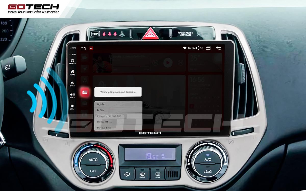 Điều khiển giọng nói qua vô lăng trên màn hình ô tô GOTECH cho xe Hyundai i20 2013-2014