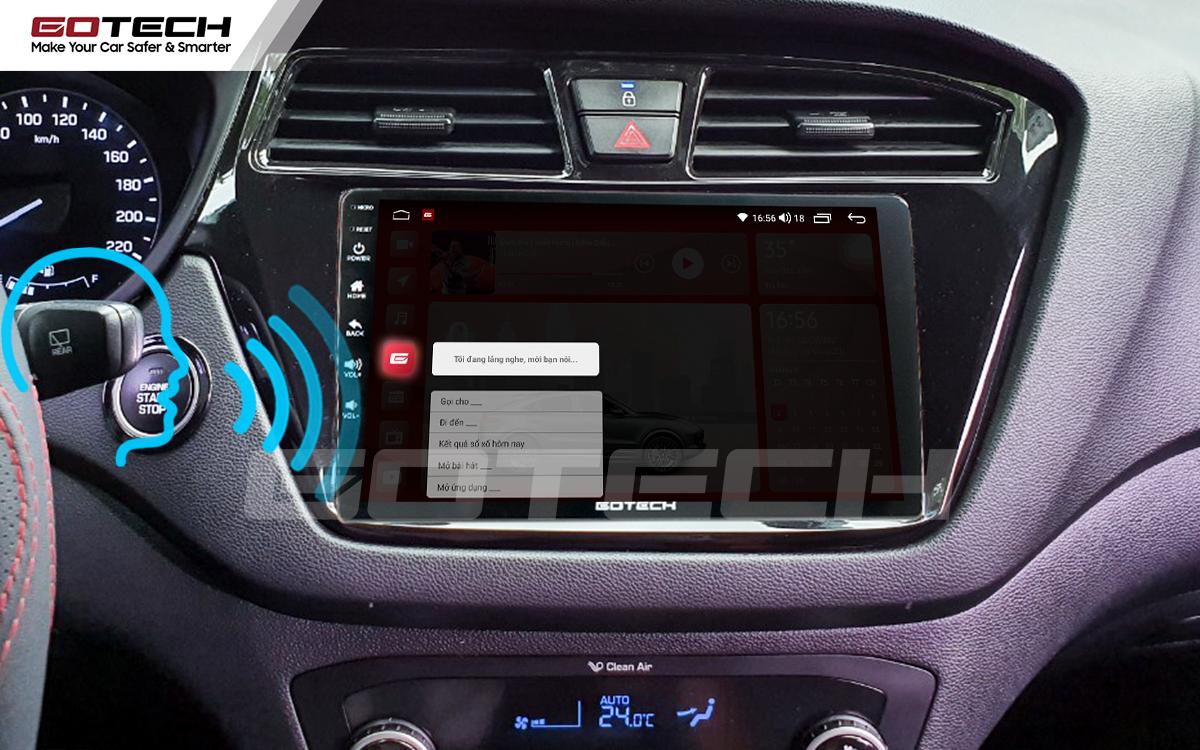 Điều khiển giọng nói qua vô lăng trên màn hình ô tô GOTECH cho xe Hyundai i20 Active 2015-2018