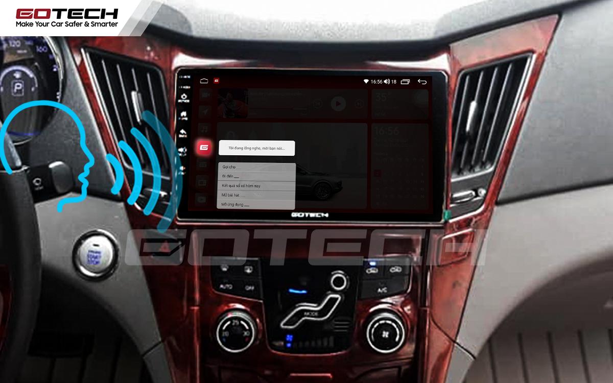 Điều khiển giọng nói qua vô lăng trên màn hình ô tô GOTECH cho xe Hyundai Sonata 2010-2013