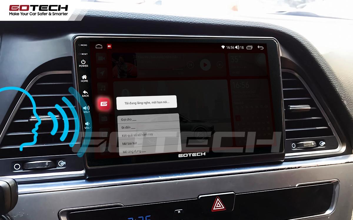 Điều khiển giọng nói qua vô lăng trên màn hình ô tô GOTECH cho xe Hyundai Sonata 2015-2018