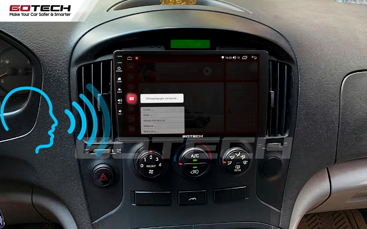 Điều khiển giọng nói qua vô lăng trên màn hình ô tô GOTECH cho xe Hyundai Starex 2016-2019
