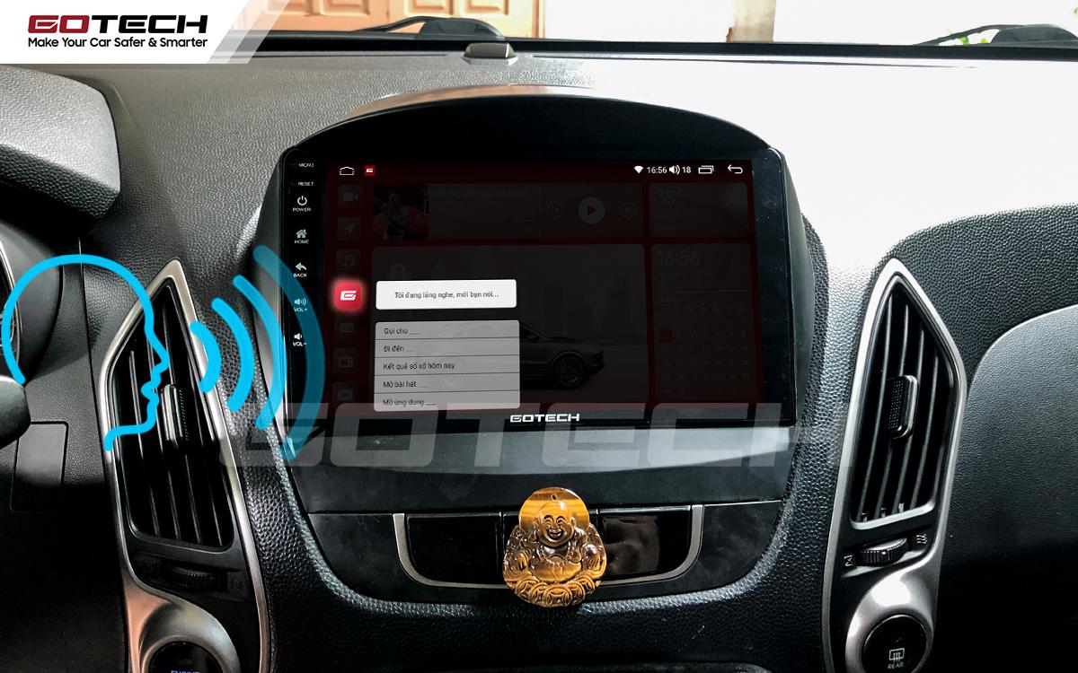 Điều khiển giọng nói qua vô lăng trên màn hình ô tô GOTECH cho xe Hyundai Tucson 2010-2014