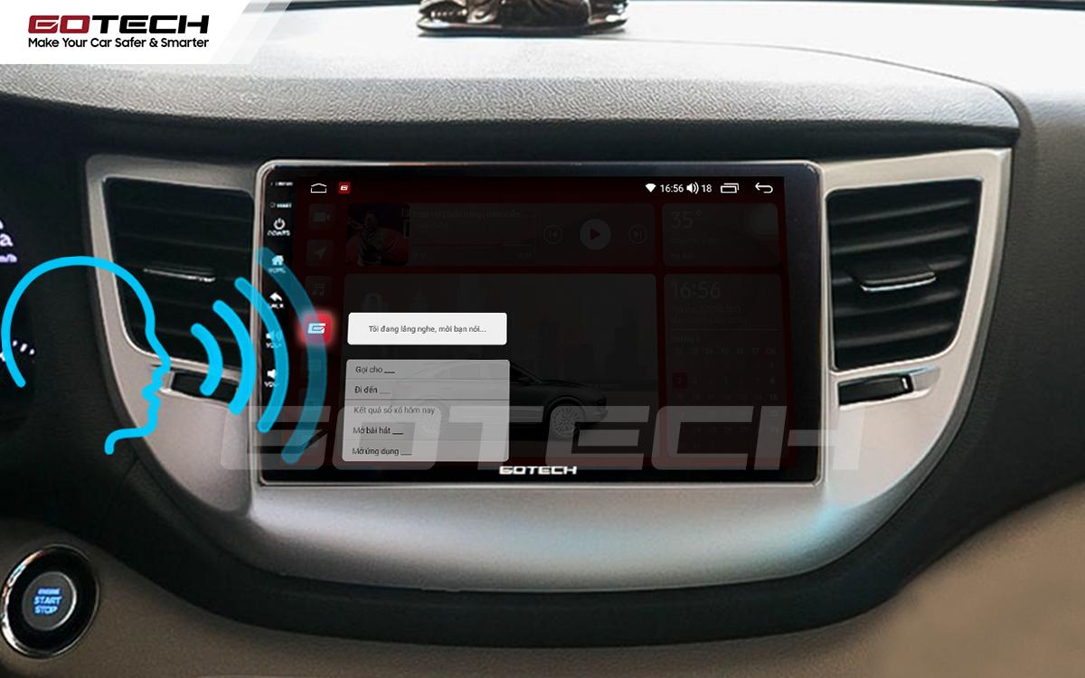 Điều khiển giọng nói qua vô lăng trên màn hình ô tô GOTECH cho xe Hyundai Tucson 2016-2018