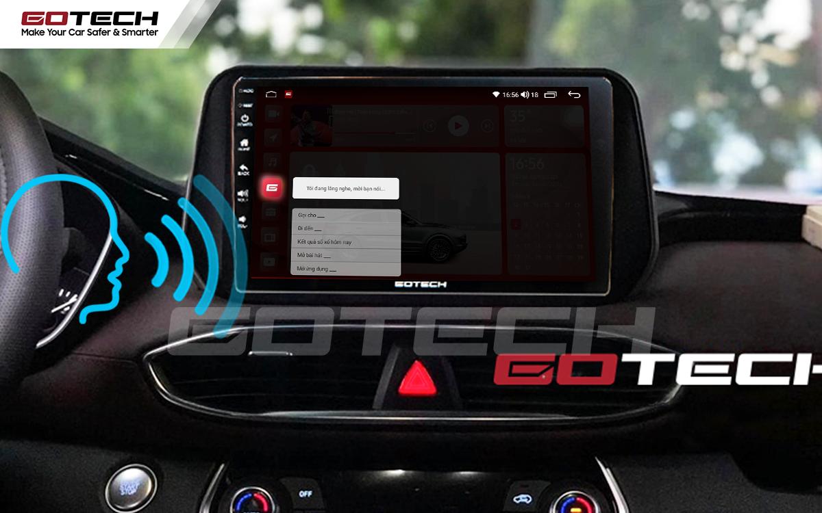 Điều khiển giọng nói qua vô lăng trên màn hình ô tô GOTECH cho xe Hyundai Tucson 2019-2020