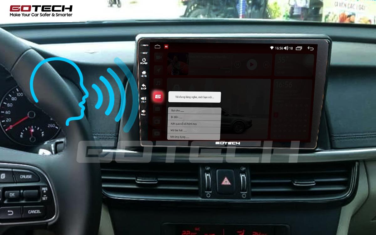 Điều khiển giọng nói qua vô lăng trên màn hình ô tô GOTECH cho xe Kia K5 Optima 2017-2020