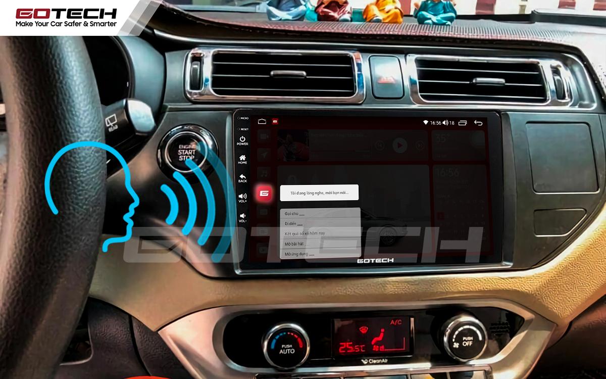 Điều khiển giọng nói qua vô lăng trên màn hình ô tô GOTECH cho xe Kia Rio 2012-2014