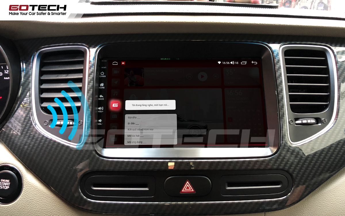 Điều khiển giọng nói qua vô lăng trên màn hình ô tô GOTECH cho xe Kia Rondo 2014-2020
