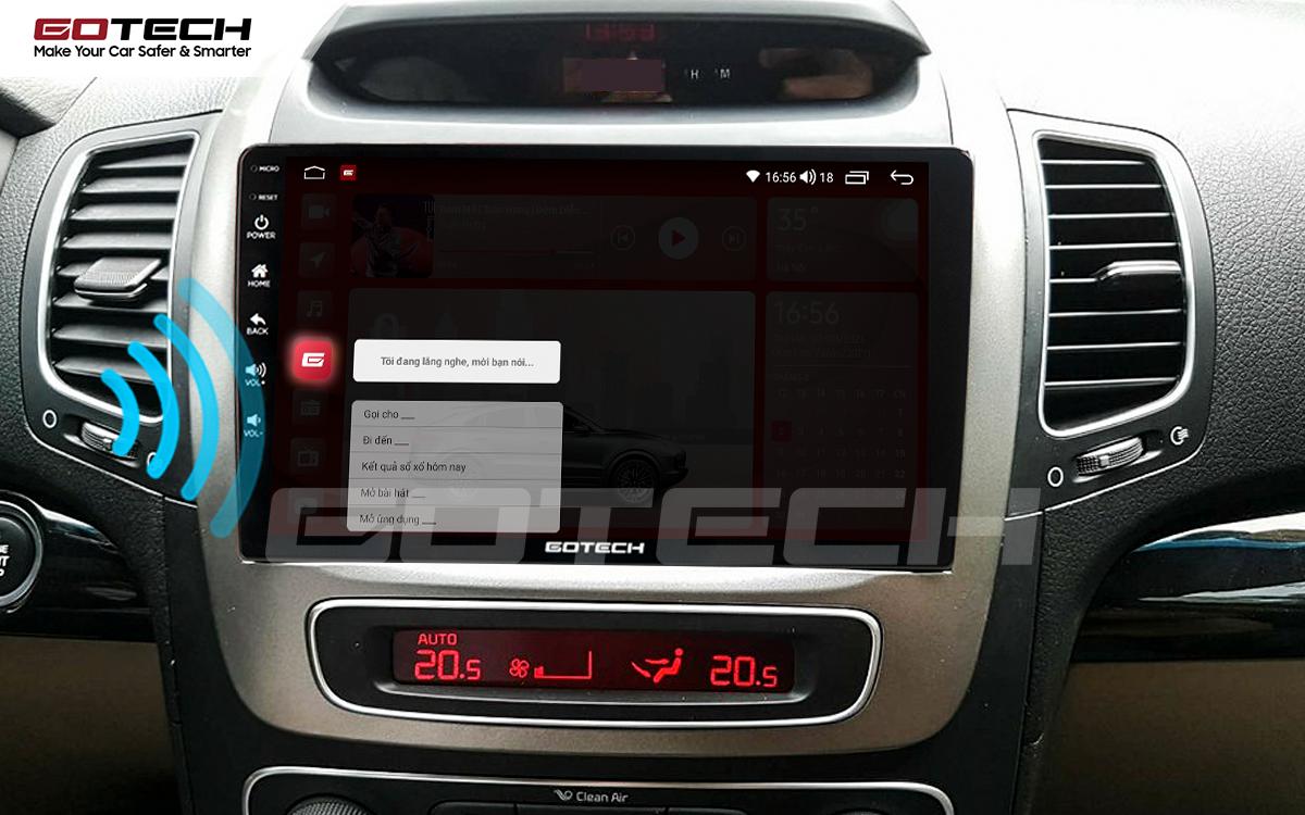 Điều khiển giọng nói qua vô lăng trên màn hình ô tô GOTECH cho xe Kia Sorento 2014-2020