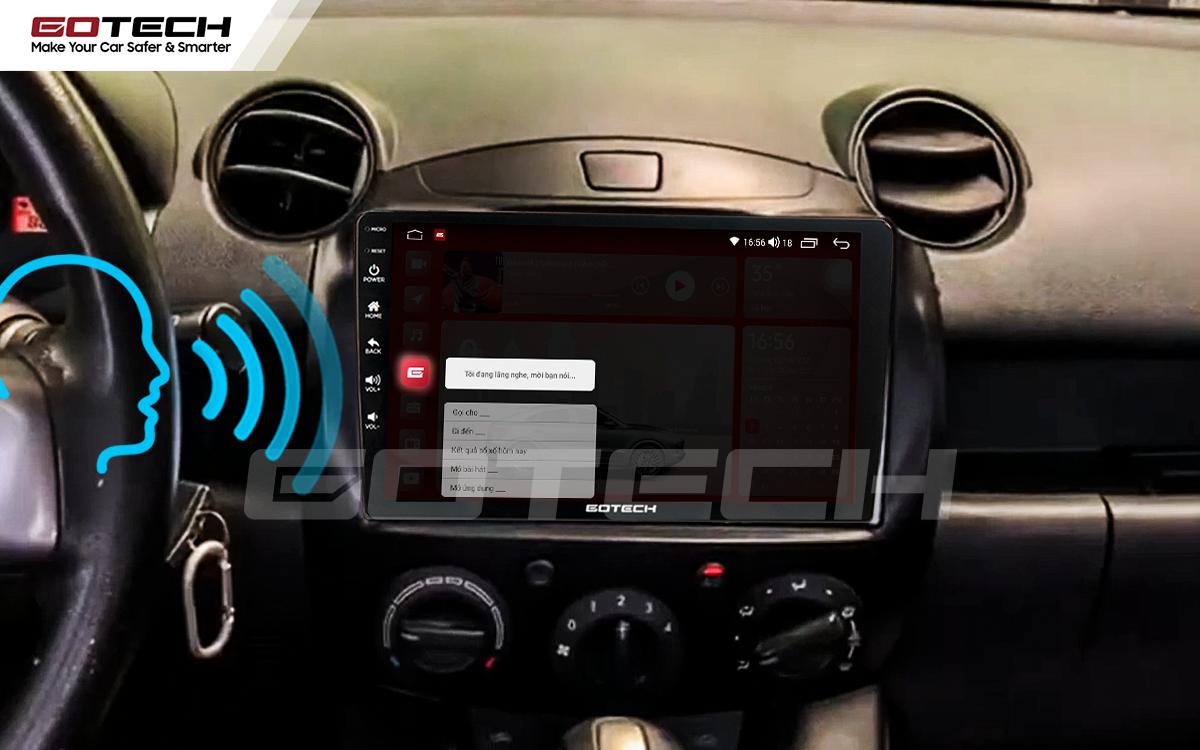 Điều khiển giọng nói qua vô lăng trên màn hình ô tô GOTECH cho xe Mazda 2 2012-2013