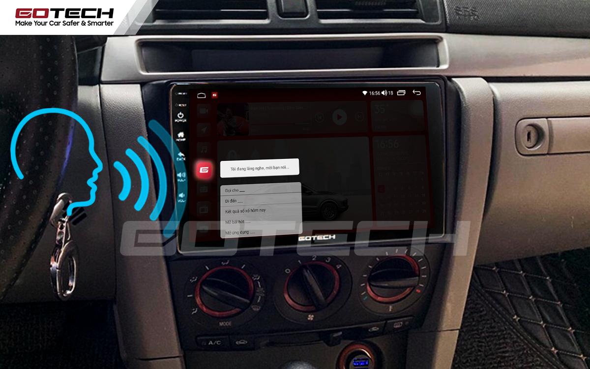 Điều khiển giọng nói qua vô lăng trên màn hình ô tô GOTECH cho xe Mazda 3 2004-2009