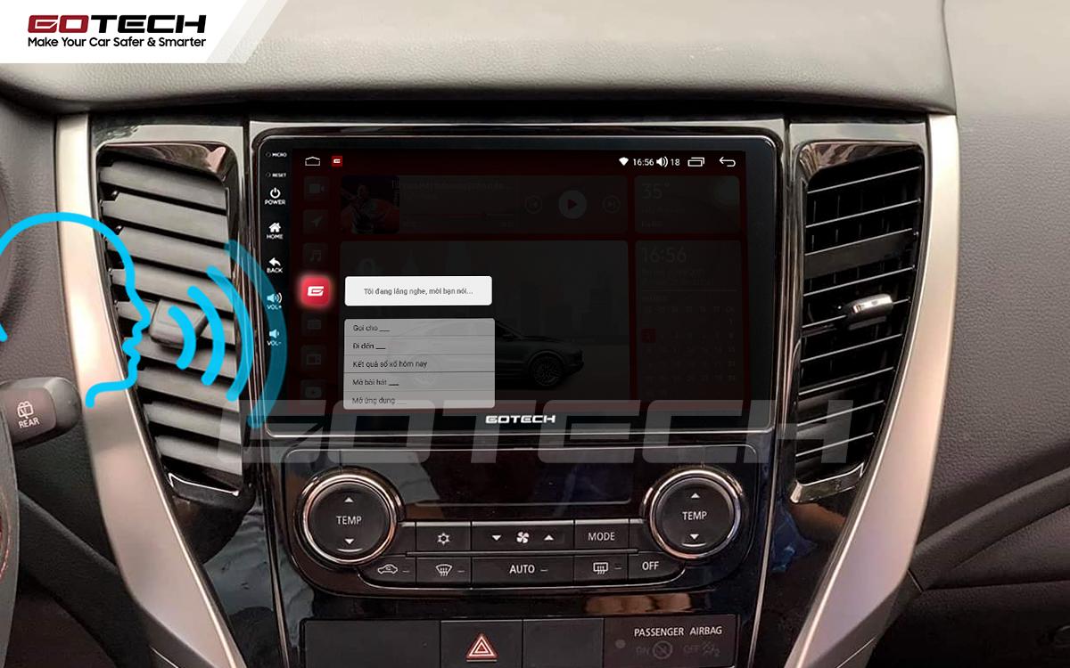 Điều khiển giọng nói qua vô lăng trên màn hình ô tô GOTECH cho xe Mitsubishi Pajero Sport 2018-2019