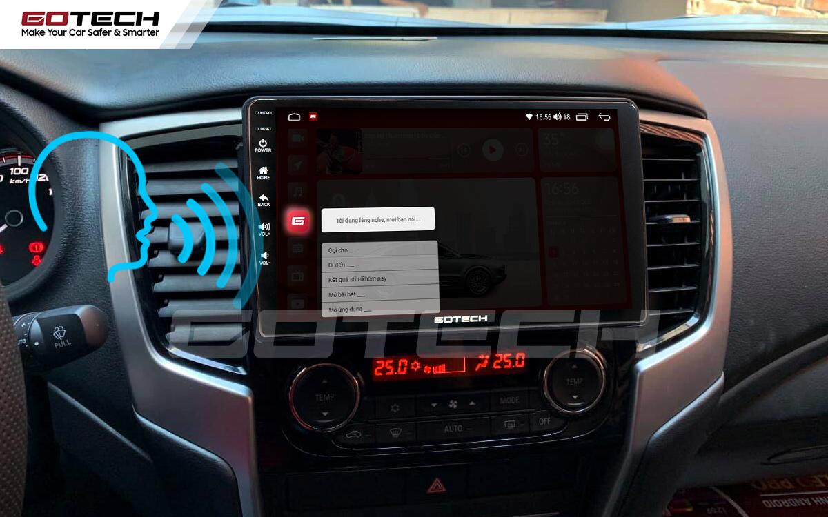 Điều khiển giọng nói qua vô lăng trên màn hình ô tô GOTECH cho xe Mitsubishi Triton 2019-2020