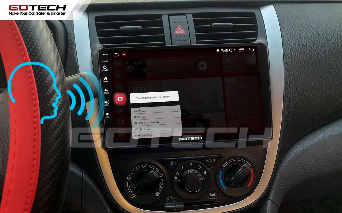 Điều khiển giọng nói qua vô lăng trên màn hình ô tô GOTECH cho xe Suzuki Celerio 2018-2020