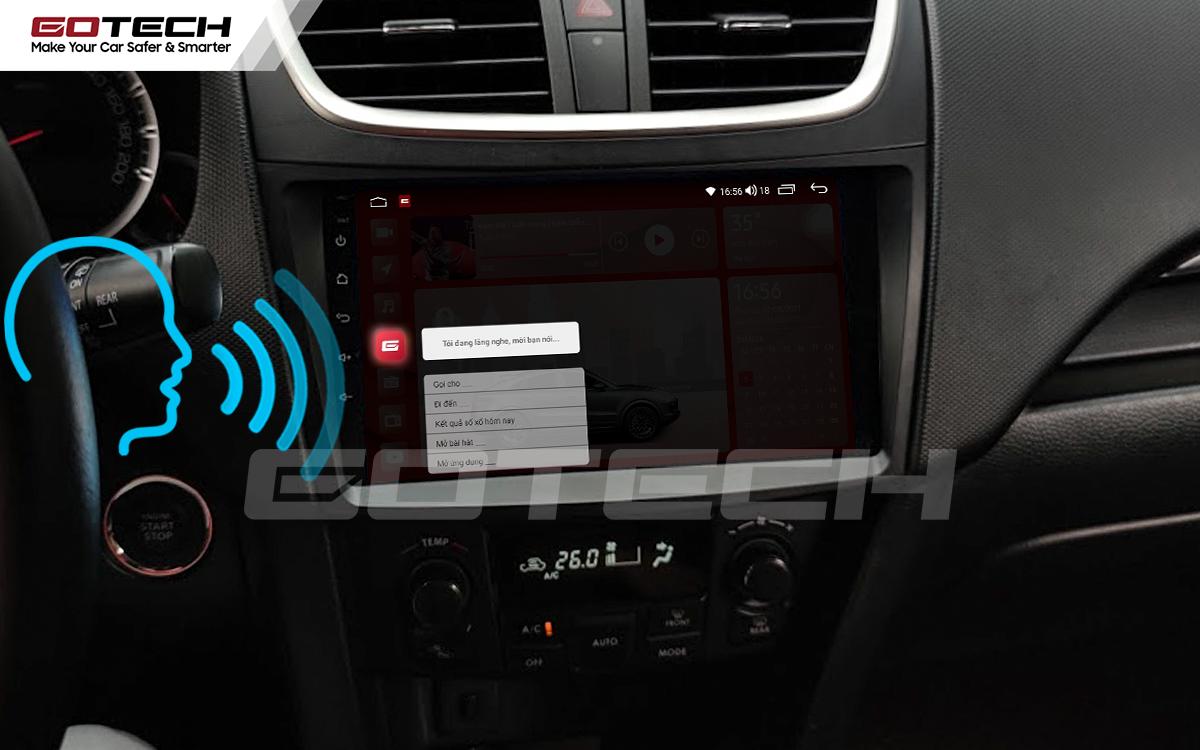 Điều khiển giọng nói qua vô lăng trên màn hình ô tô GOTECH cho xe Suzuki Swift 2013-2017