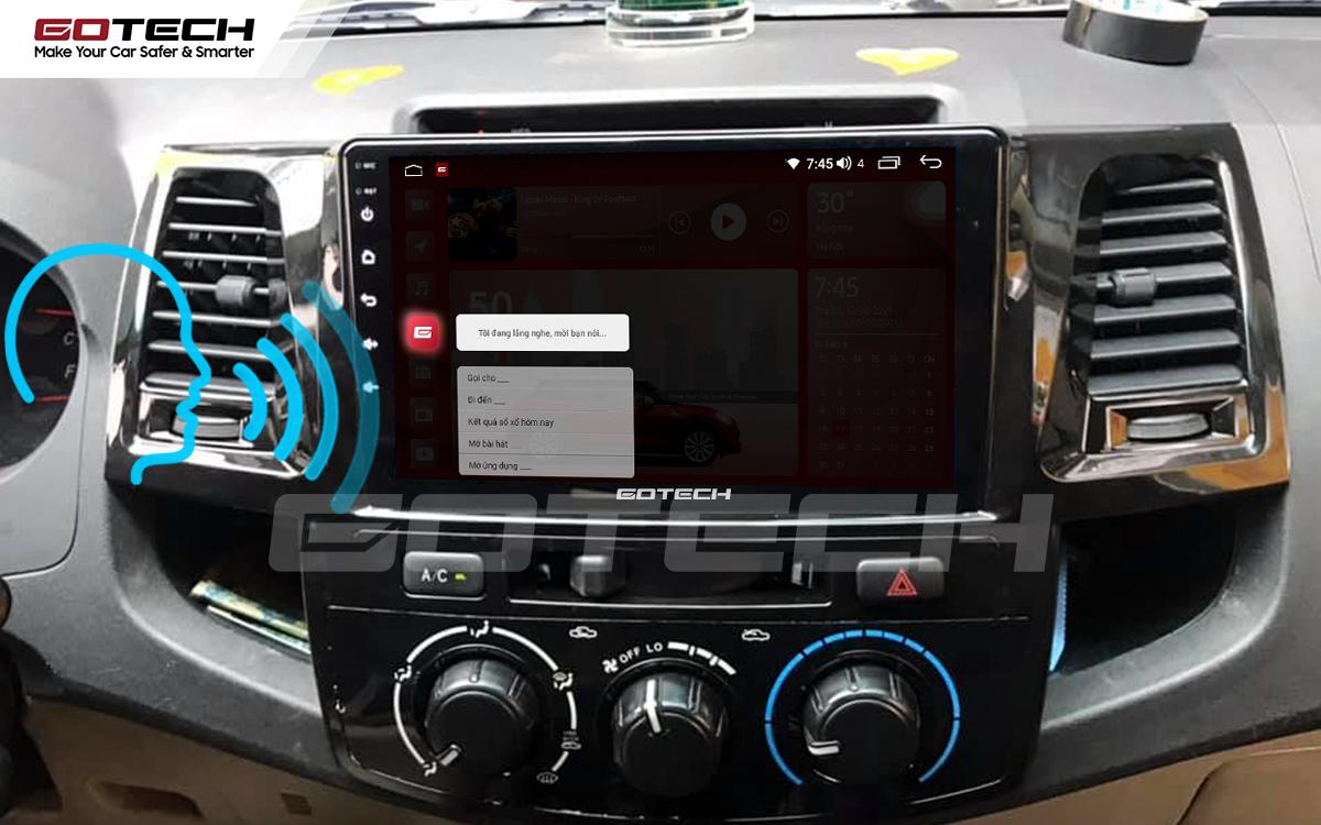 Điều khiển giọng nói qua vô lăng trên màn hình ô tô GOTECH cho xe Toyota Fortuner 2006-2016