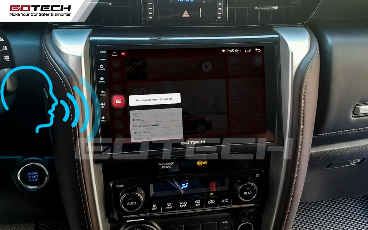 Điều khiển giọng nói qua vô lăng trên màn hình ô tô GOTECH cho xe Toyota Fortuner 2017-2020