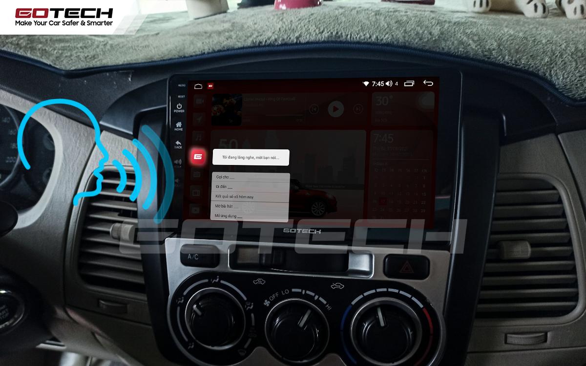 Điều khiển giọng nói qua vô lăng trên màn hình ô tô GOTECH cho xe Toyota Innova 2012-2016