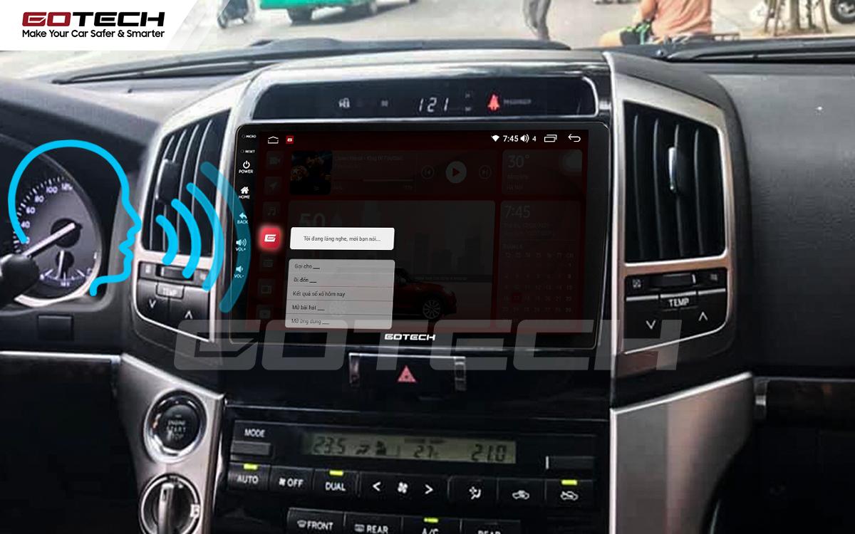 Điều khiển giọng nói qua vô lăng trên màn hình ô tô GOTECH cho xe Toyota Land Cruiser 2008-2015