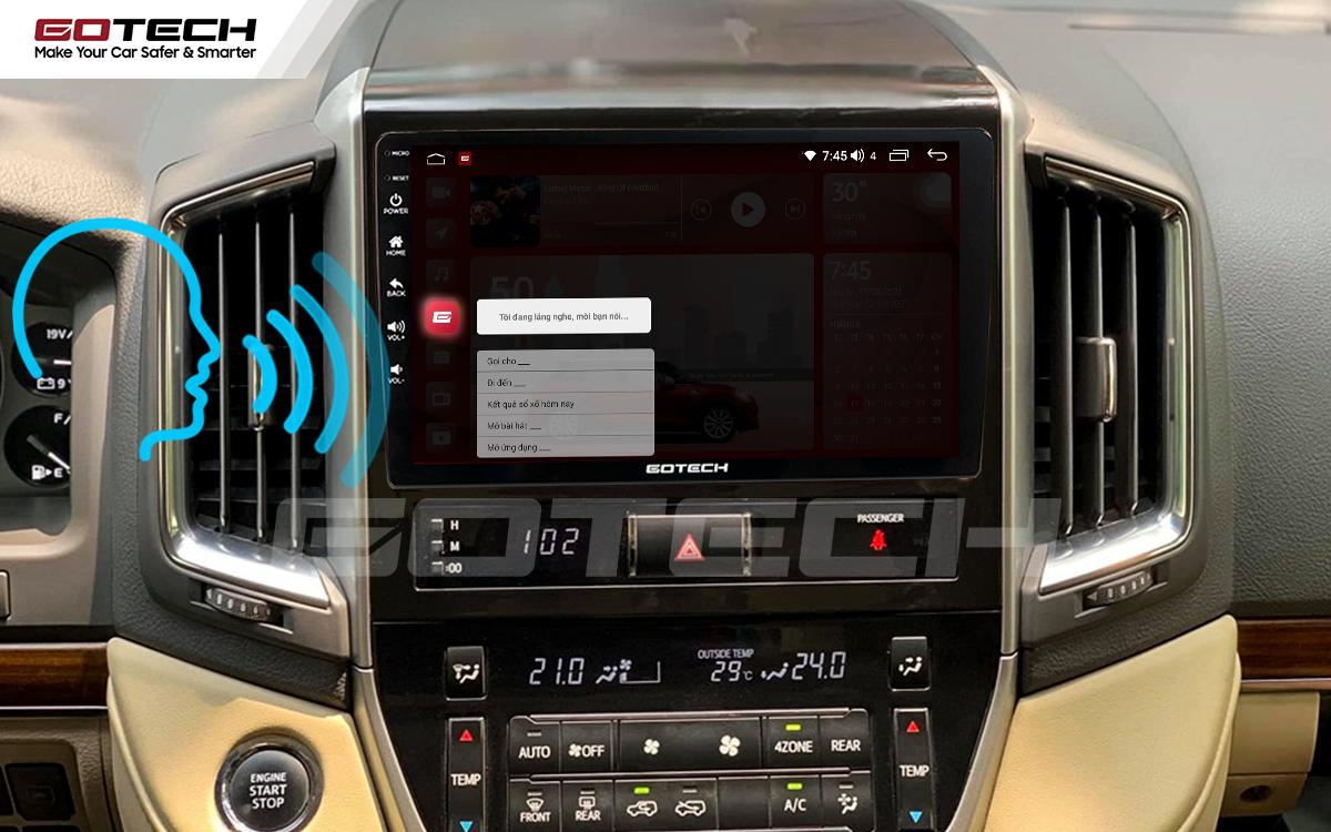 Điều khiển giọng nói qua vô lăng trên màn hình ô tô GOTECH cho xe Toyota Land Cruiser 2016-2019