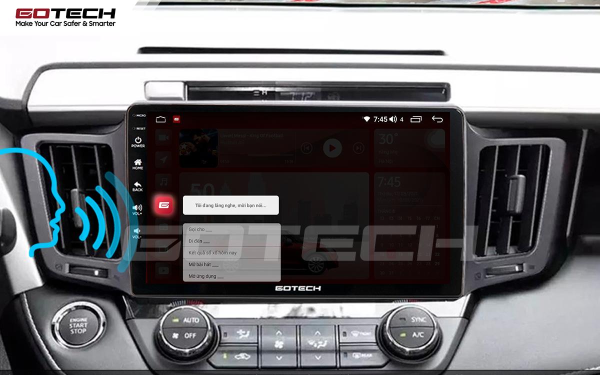 Điều khiển giọng nói qua vô lăng trên màn hình ô tô GOTECH cho xe Toyota Rav4 2013-2014