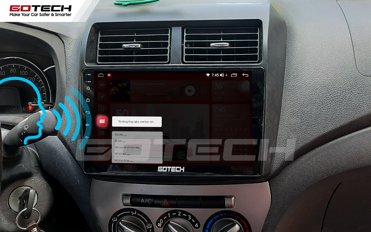 Điều khiển giọng nói qua vô lăng trên màn hình ô tô GOTECH cho xe Toyota Wigo 2018-2020
