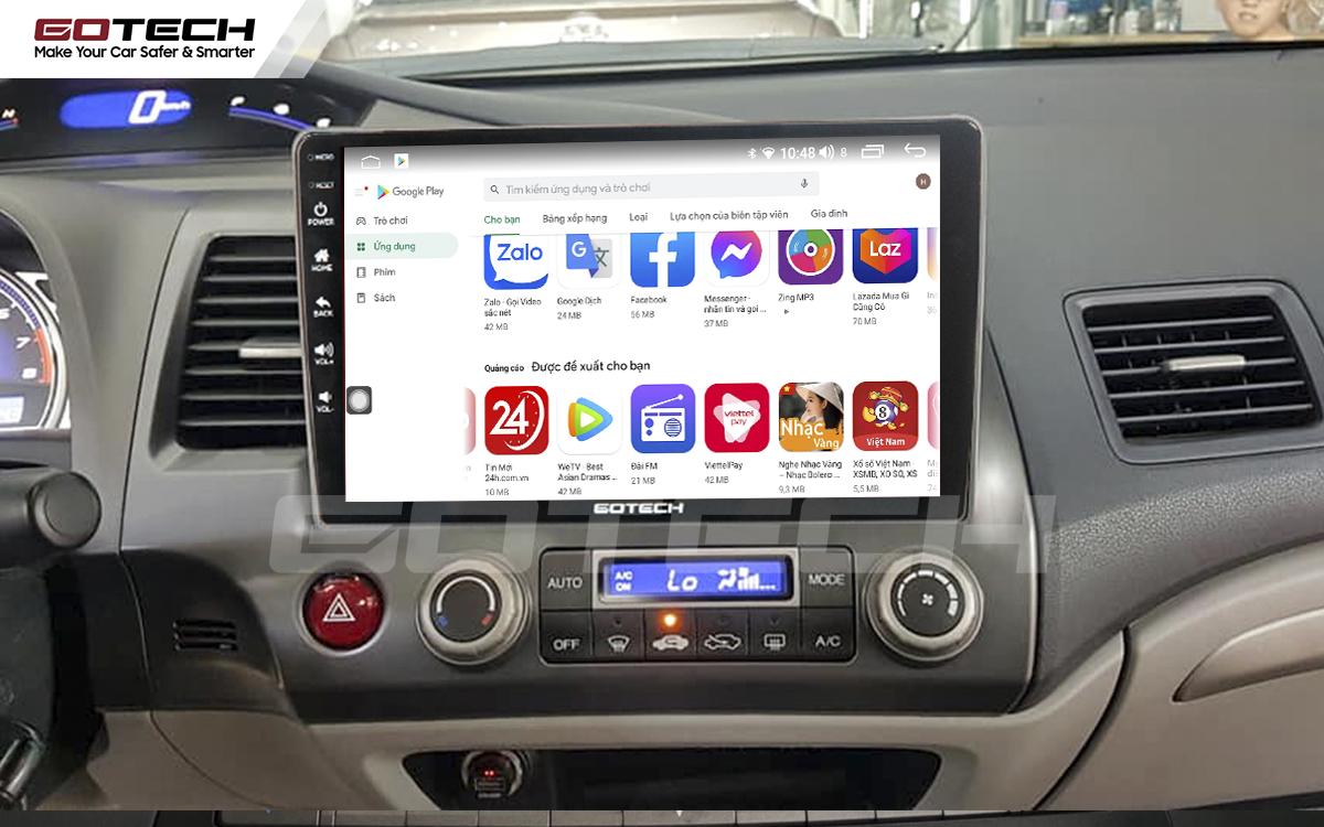 Giải trí đa phương tiện trên màn hình ô tô thông minh GOTECH cho xe Honda Civic 2007-2012