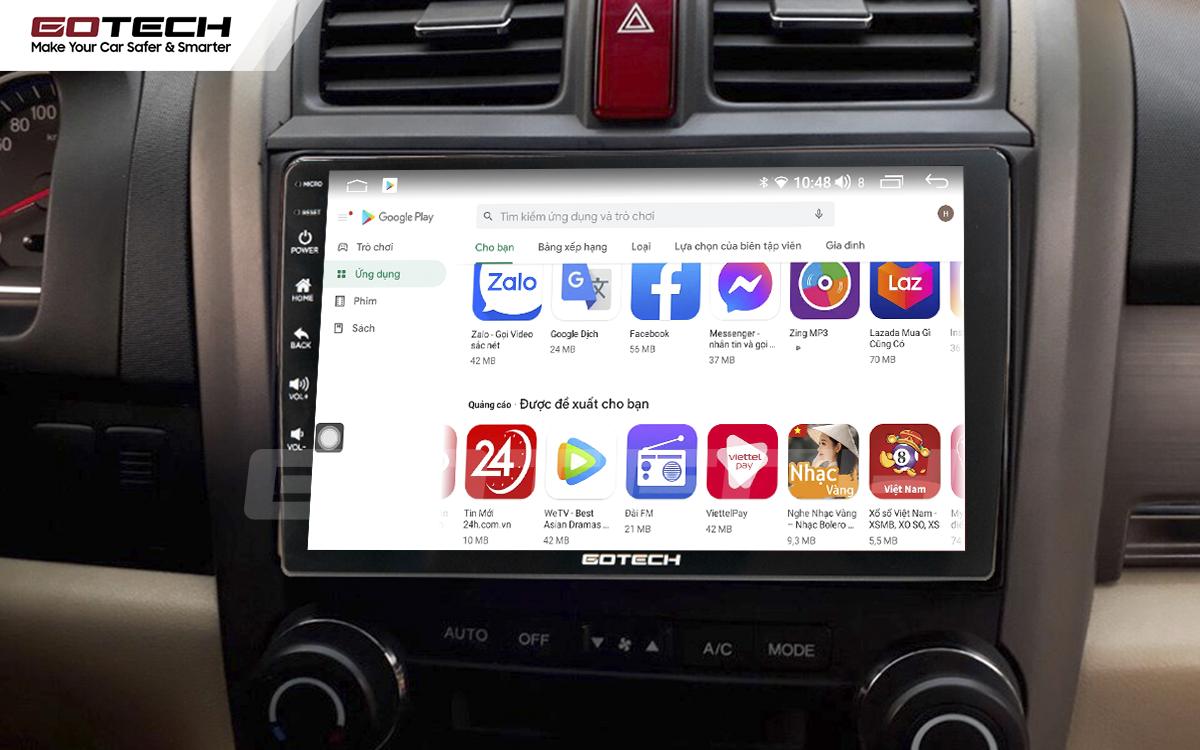 Giải trí đa phương tiện trên màn hình ô tô thông minh GOTECH cho xe Honda Crv 2007-2012