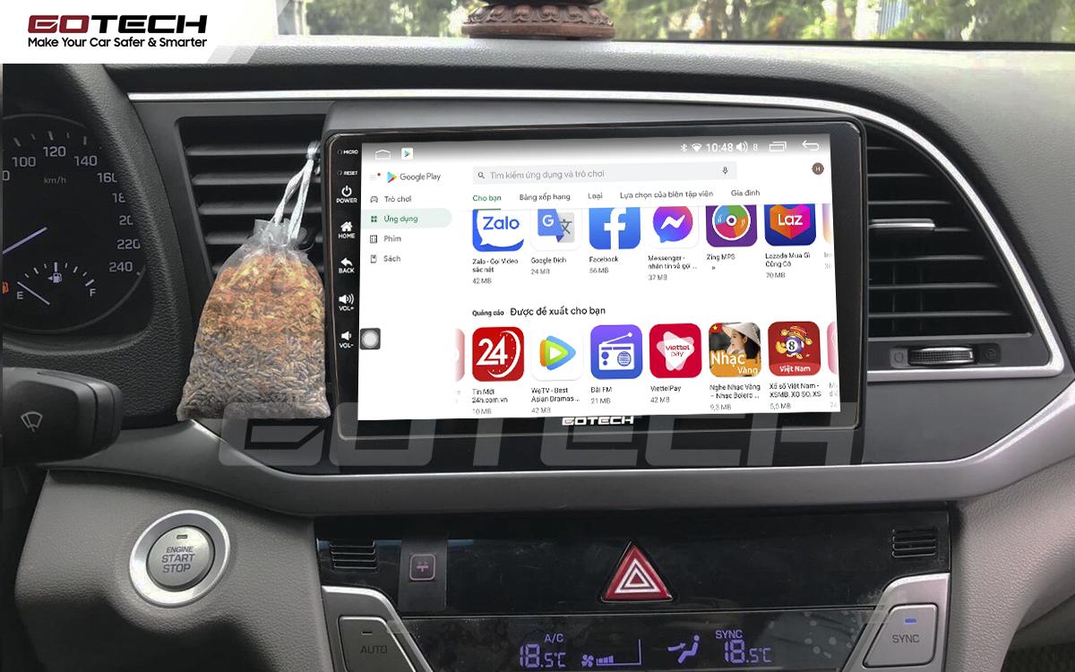 Giải trí đa phương tiện trên màn hình ô tô thông minh GOTECH cho xe Hyundai Elantra 2016-2018
