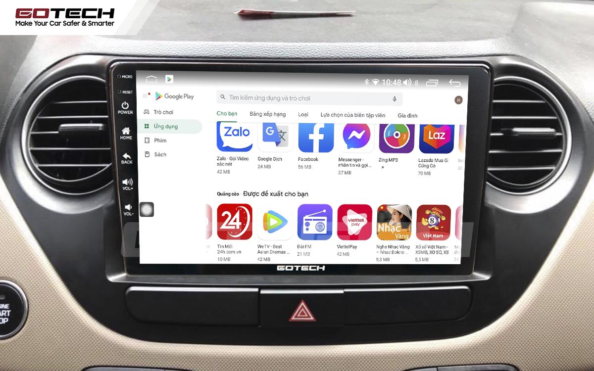 Giải trí đa phương tiện trên màn hình ô tô thông minh GOTECH cho xe Hyundai i10 2014-2019