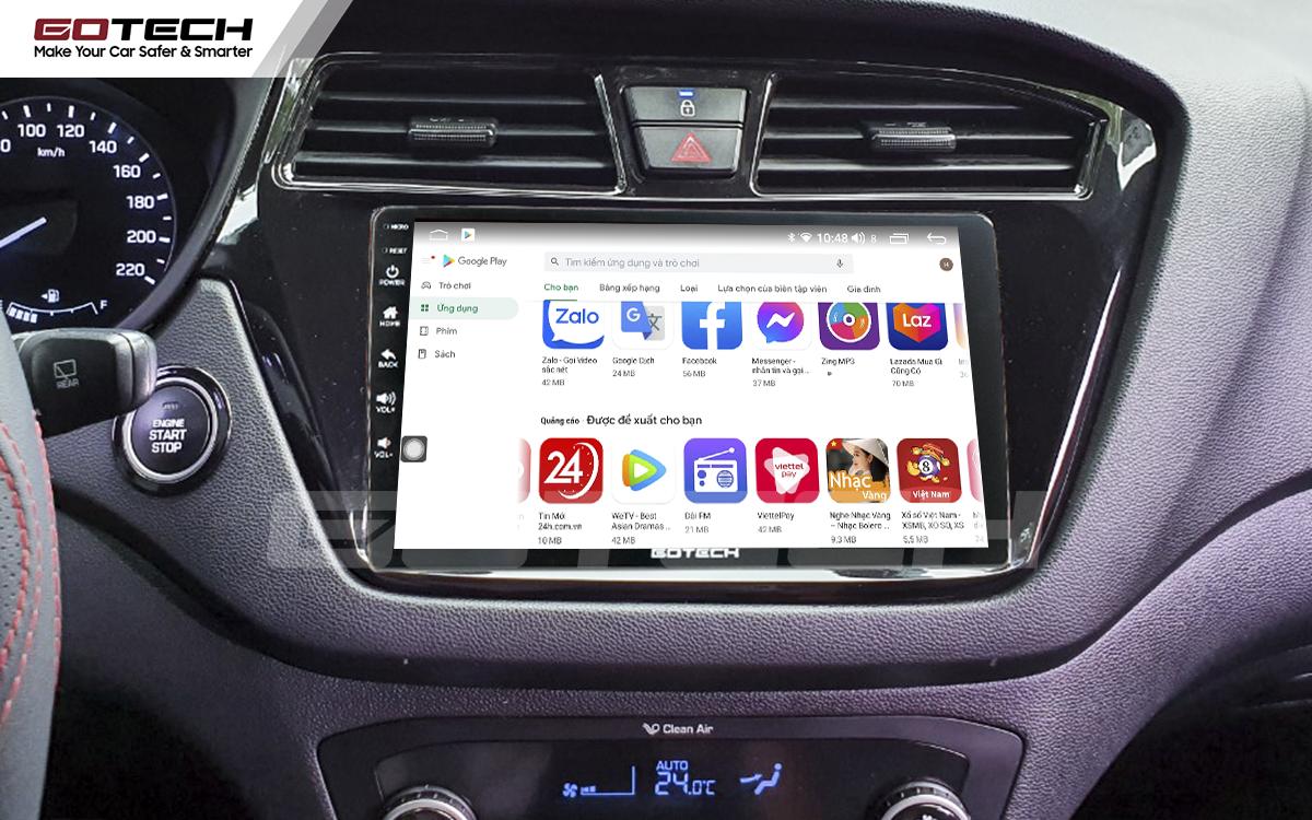 Giải trí đa phương tiện trên màn hình ô tô thông minh GOTECH cho xe Hyundai i20 Active 2015-2018