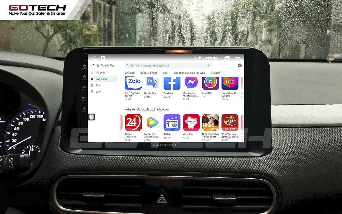 Giải trí đa phương tiện trên màn hình ô tô thông minh GOTECH cho xe Hyundai Kona 2018-2020