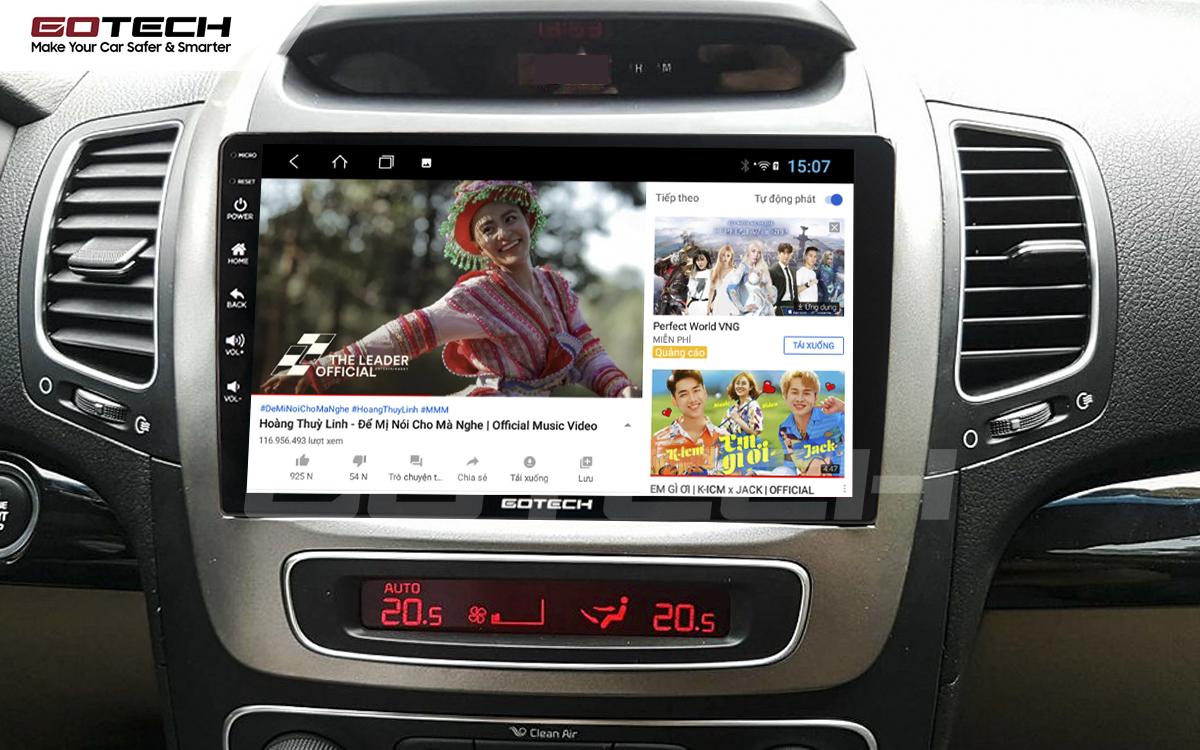 Giải trí đa phương tiện trên màn hình ô tô thông minh GOTECH cho xe Kia Sorento 2014-2020
