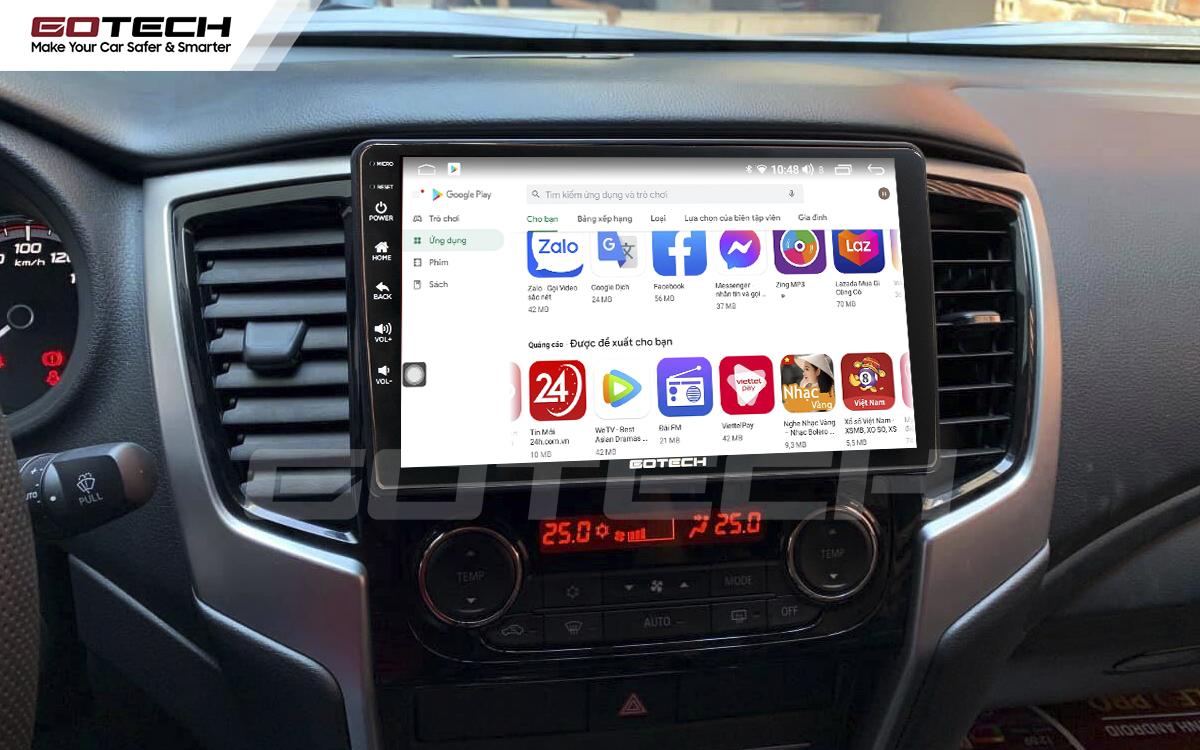 Giải trí đa phương tiện trên màn hình ô tô thông minh GOTECH cho xe Mitsubishi Triton 2019-2020