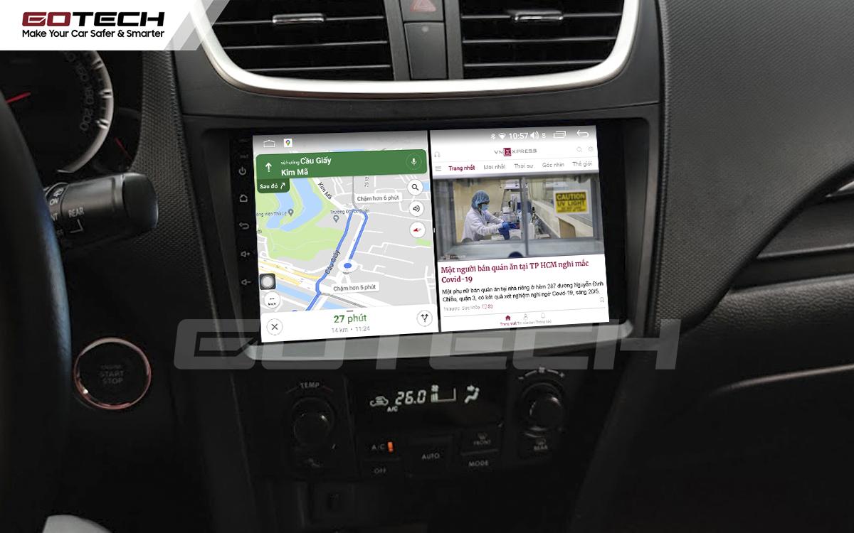Chạy đa nhiệm ứng dụng mượt mà trên màn hình ô tô GOTECH cho xe Suzuki Swift 2013-2017