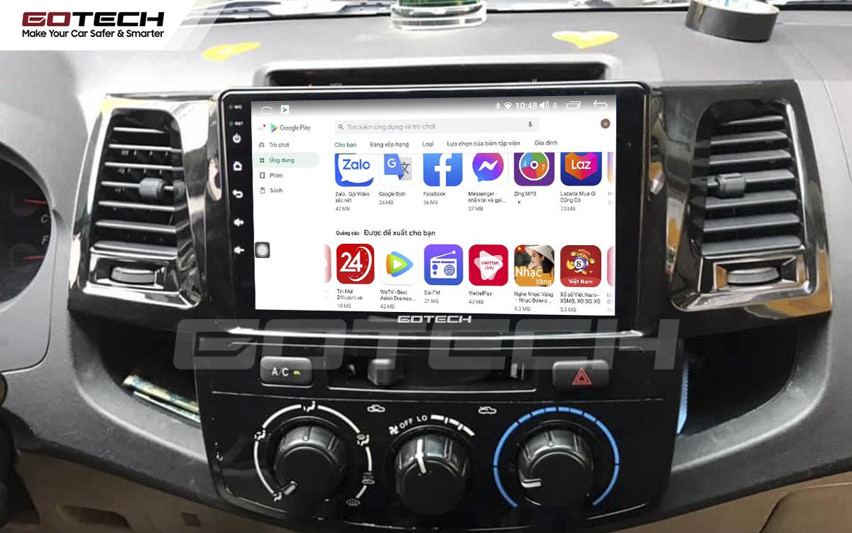 Giải trí đa phương tiện trên màn hình ô tô thông minh GOTECH cho xe Toyota Fortuner 2006-2016