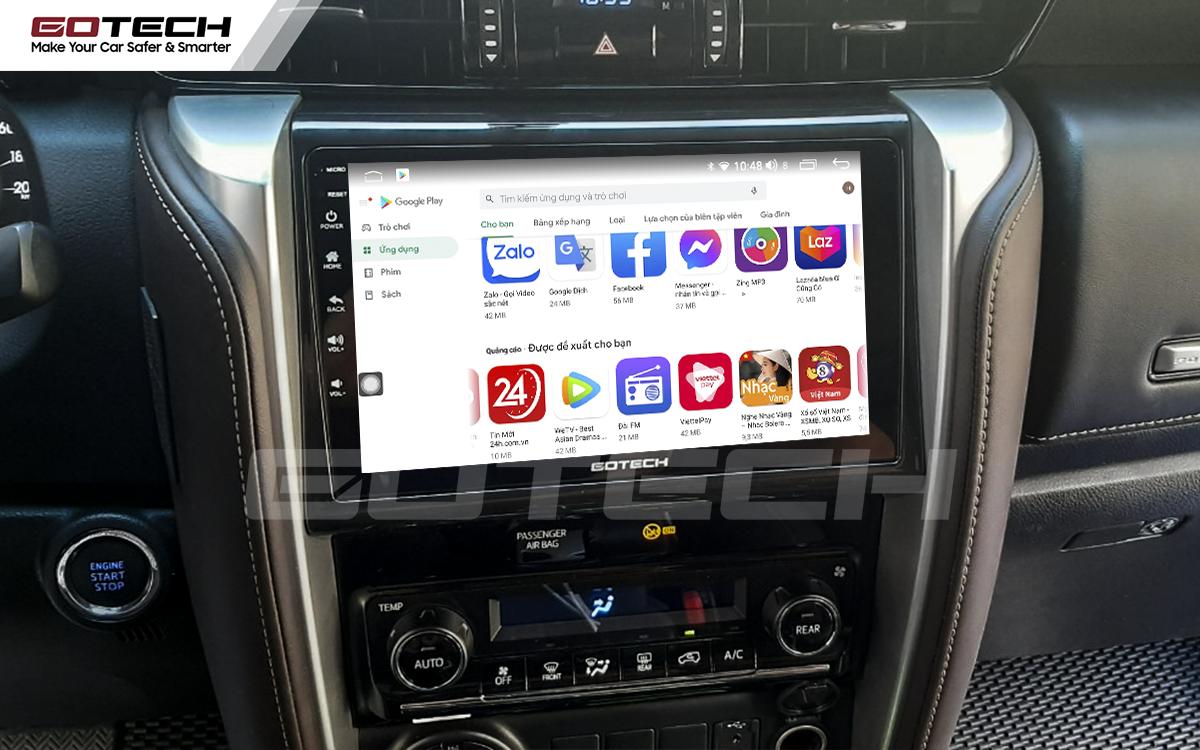 Giải trí đa phương tiện trên màn hình ô tô thông minh GOTECH cho xe Toyota Fortuner 2017-2020