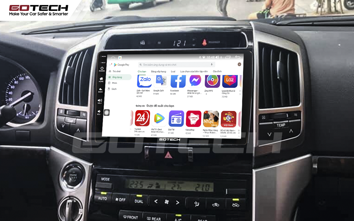 Giải trí đa phương tiện trên màn hình ô tô thông minh GOTECH cho xe Toyota Land Cruiser 2008-2015