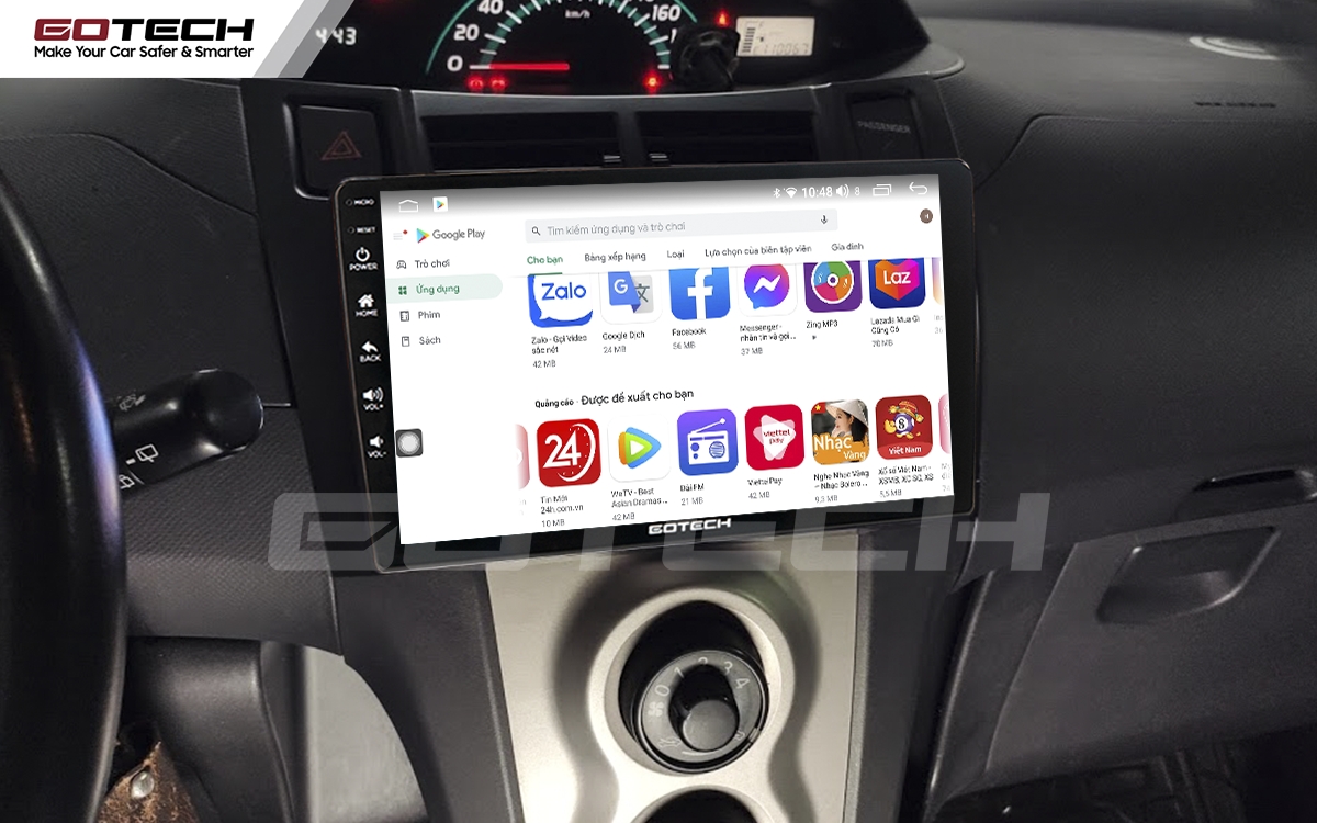 Giải trí đa phương tiện trên màn hình ô tô thông minh GOTECH cho xe Toyota Yaris Hatchback 2005-2013