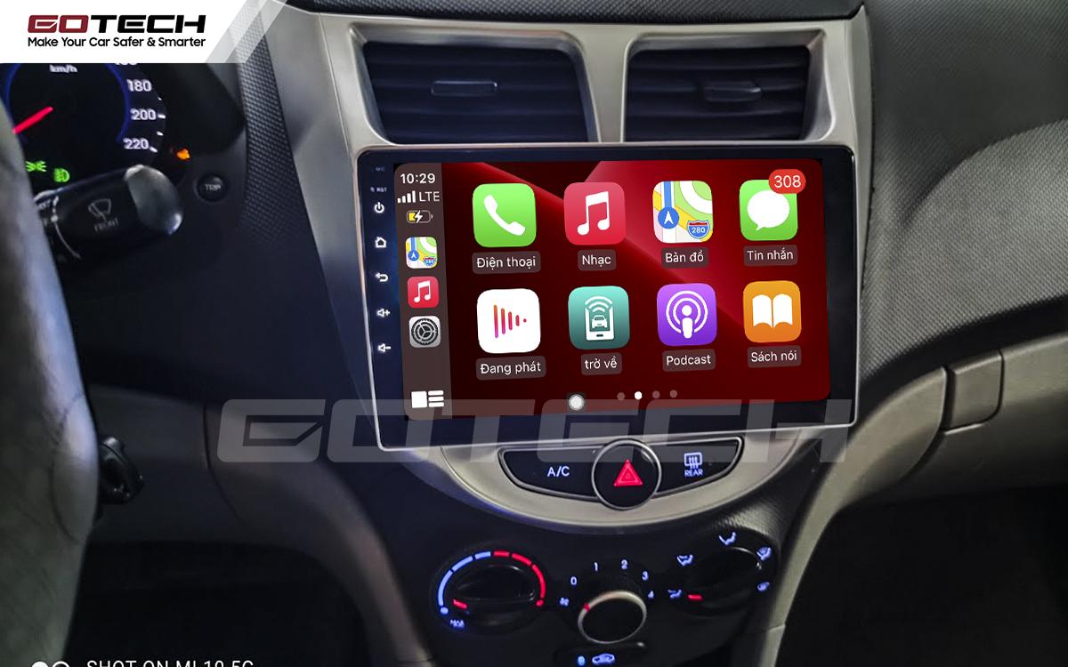 Kết nối Apple Carplay thông minh trên màn hình ô tô thông minh GOTECH cho xe Hyundai Accent 2011-2016
